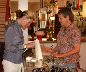 Carol checking out her pins at Wonders on Woodland.  Check out the cuff Carol has on!  Pretty Perfect, huh?