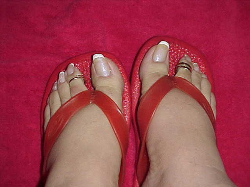 French pedicure with crooked nails