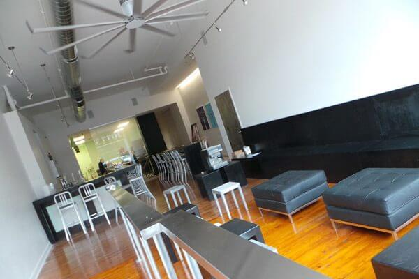 The interior has an urban, swanky industrial feel, in keeping with the South Main Arts District.