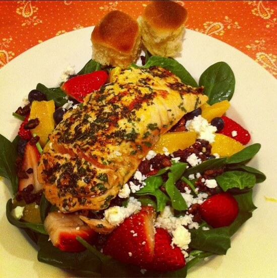 "Wild Salmon over Spinach Salad at Just for Lunch, ""PGF Restaurant of the Month"" in 2013."