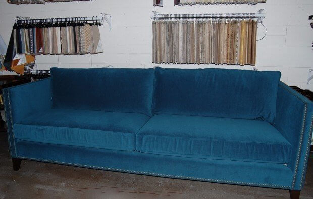 "Mitchell Gold + Bob Williams  Liam Sofa shown here in Gilmore Teal comes 95"" ($3,440) or 86"" ($3,280) available at Defining Home."