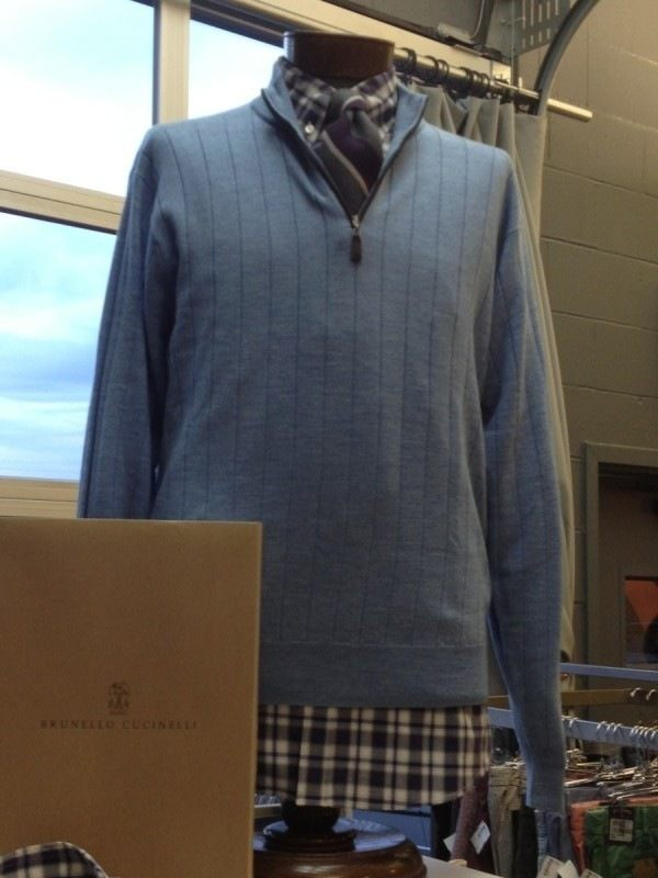 This Peter Millar sweater originally retails for around $300, but not at FLIP. Here, it's $99.98. Ever so gently worn, this is a keeper for a half zip sweater in the closet. The shirt is by Brunello Cucinelli originally retailing for $560 and priced $149 at FLIP. Hint...it still had original tags. Enjoy the treasure hunt and remember onsite alterations to make your experience even better.