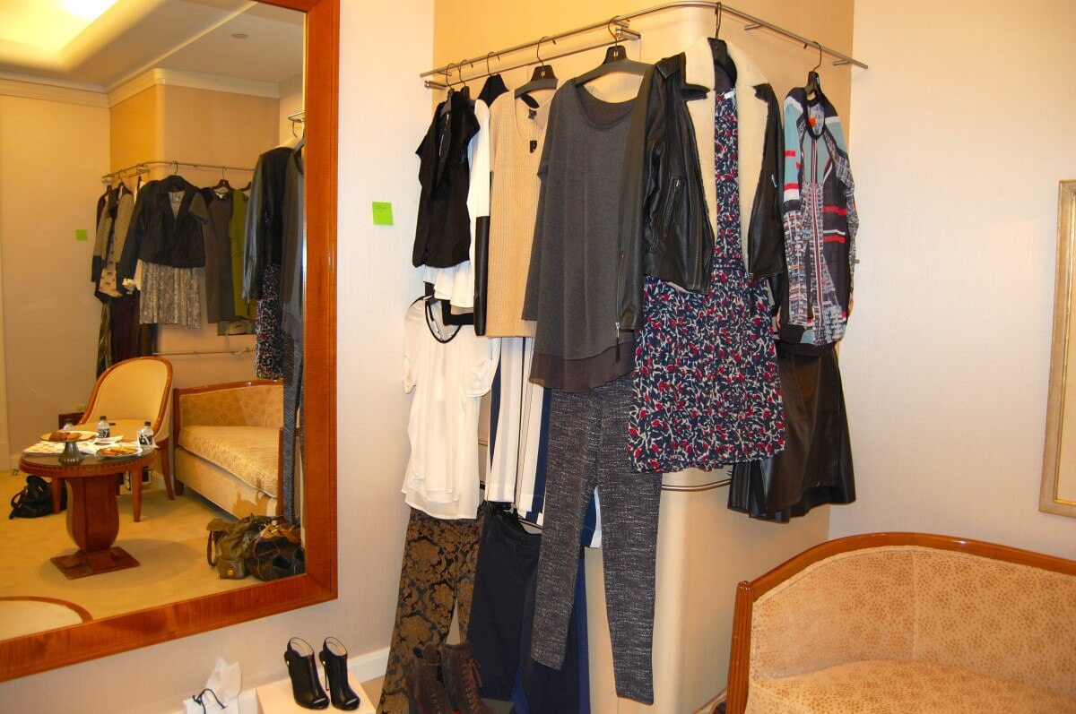 The suite was set up with loads of clothing that met our criteria for us to try on.