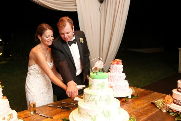 The bride and groom cut the cake.  Believe it or not, there wasn't a slice left in the house.