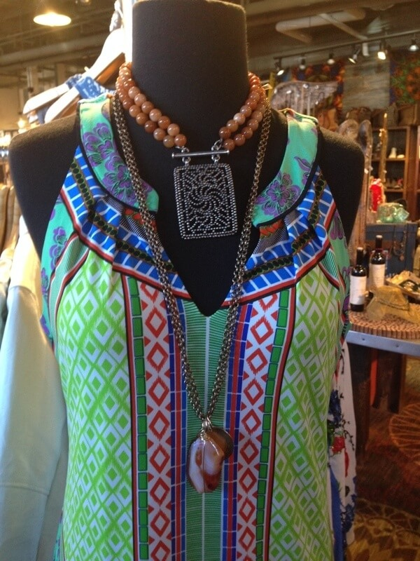 At Two Old Hippies. Long necklace is $120. Short necklace is $152.