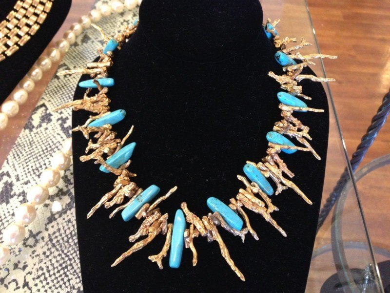 Vintage gold and turquoise necklace, available at Poppy's of Atlanta. $136.