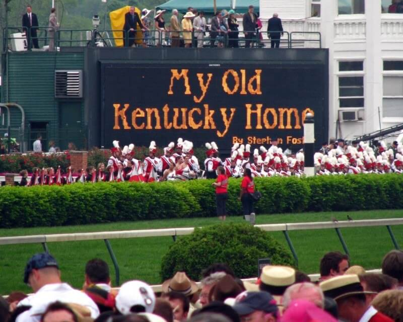 The band playing My Old Kentucky Home at Derby, seen through teary eyes!