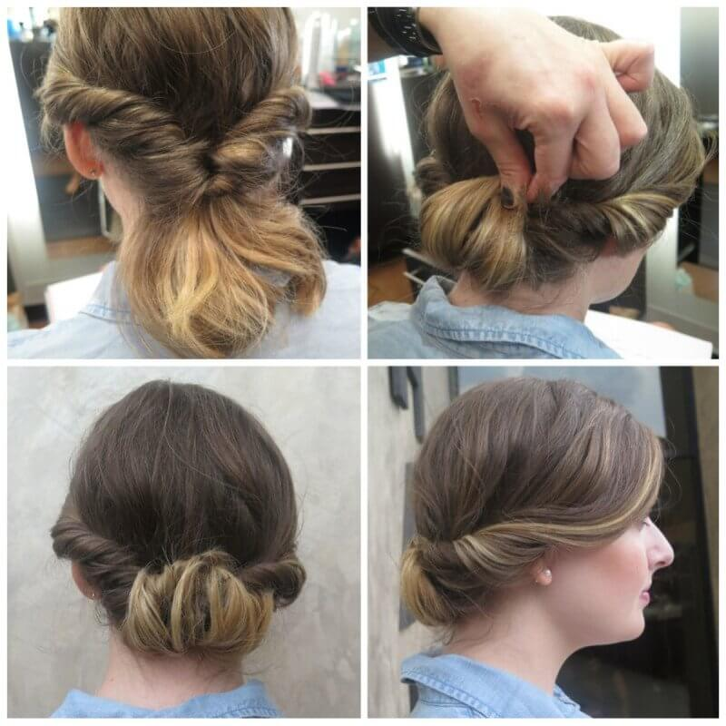 Take that twisted ponytail to the next step of sophistication but pinning up the bottom into a cool chignon.