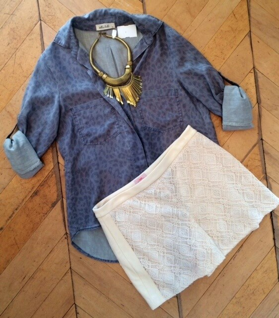 Nell eyelet shorts $90, Bella Dahl shirt $103 and statement necklace $95 available at Laura Kathryn.