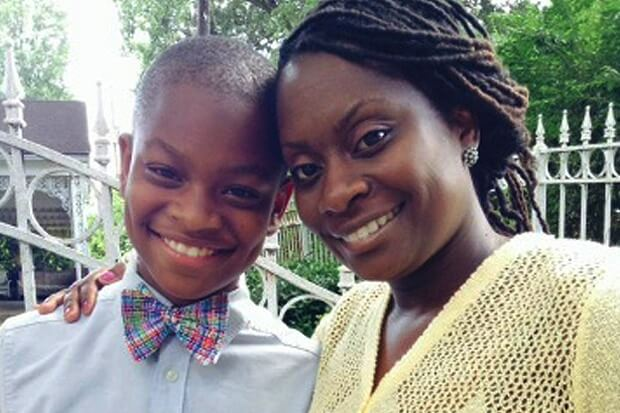 12-year-old Moziah Bridges of Mo's Bows and his mom, Tramica