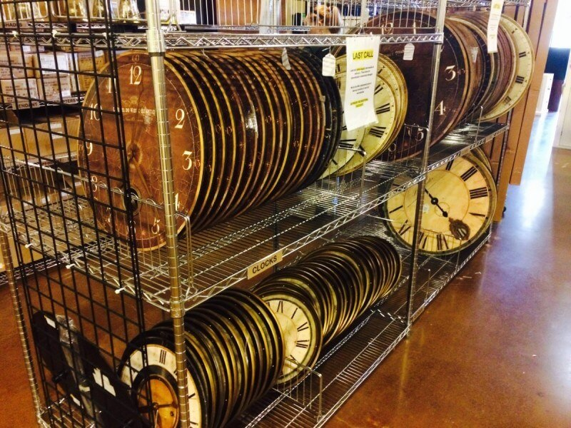 Time to hit the outlet... racks of quirky clocks discounted at Ballard's Backroom.