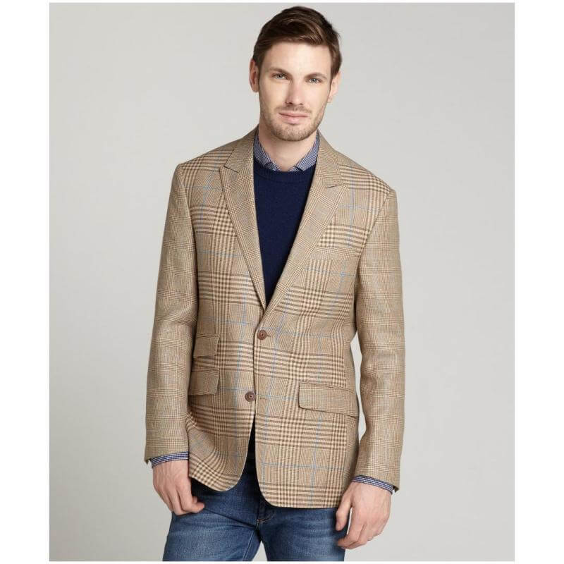 A 2 button brown glen plaid will