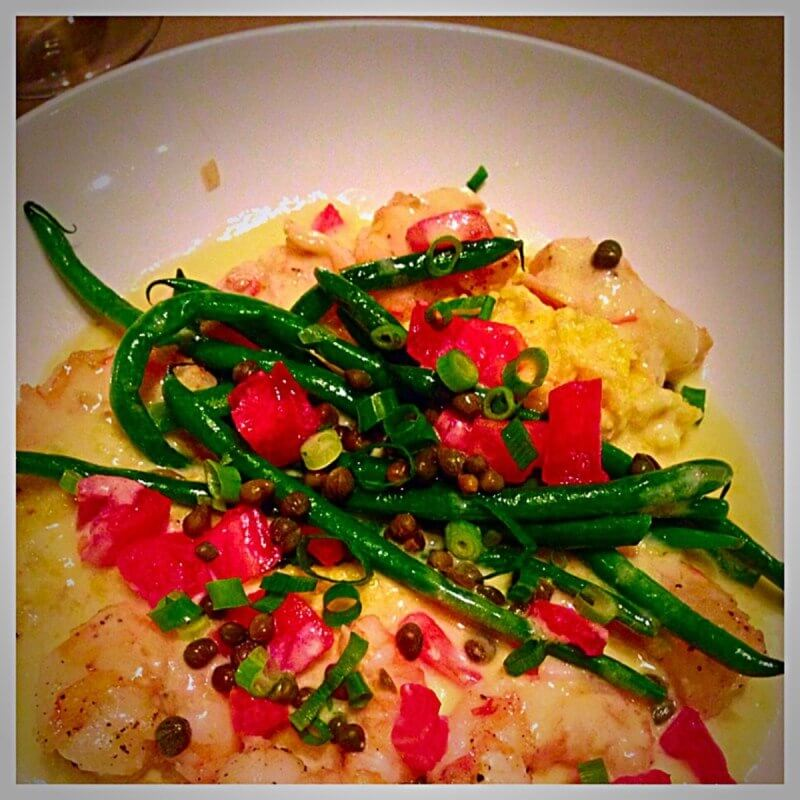 The shrimp and grits is always spot on, served with little green beans, tomatoes, capers and scallions.