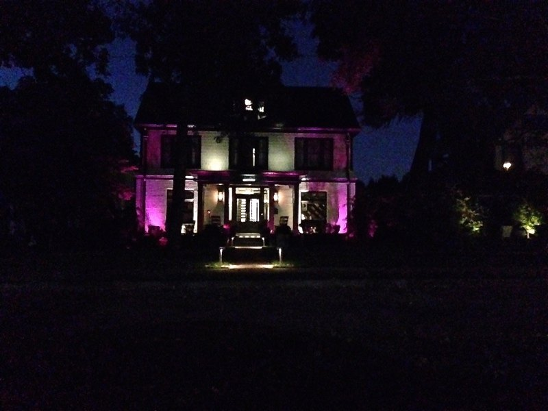 Purple lights make this Richland home a spooky one once the sun goes down.