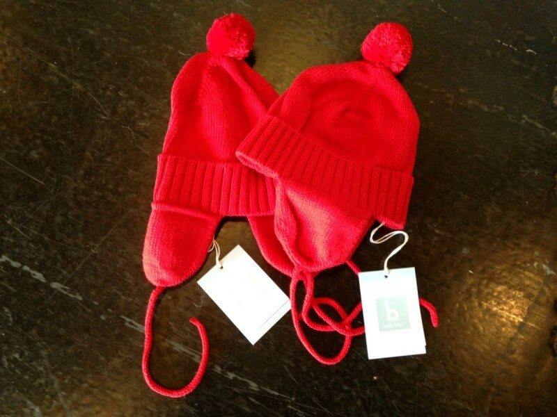 Your kiddos will look adorable in these red knit hats from Plaid Rabbit!