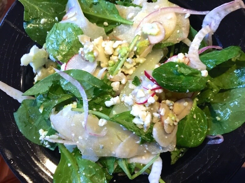 This raw veggie salad is DELICIOUS as a side salad for the holidays and also a wonderful vegan salad (leave off the gorgonzola cheese) as a main meal.