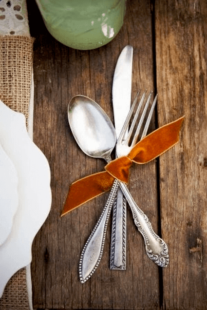 Try flatware tied with ribbon for Thanksgiving entertaining