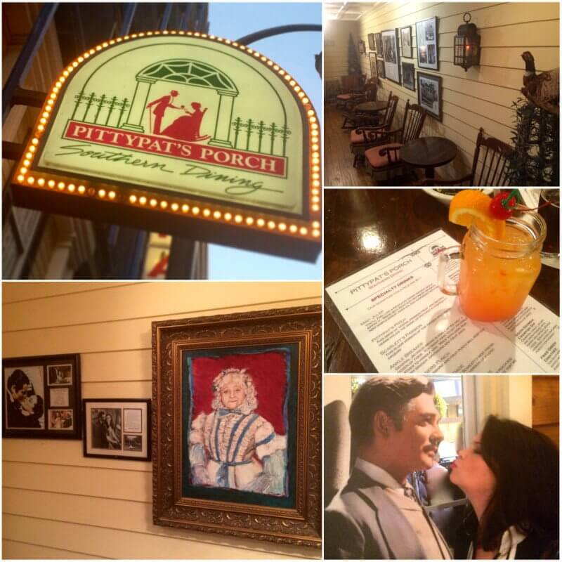 FiddleDeeDee... craving some chicken, biscuits and cobbler to fuel your explorations? Take a seat at Pittypat's Porch for little Southern hospitality and a some theme-restaurant fun. (My friend and film fan, Leigh Williams, couldn't resist stealing a kiss from Rhett.)
