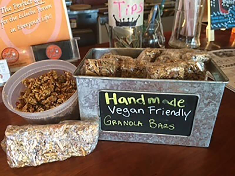 Café Eclectic makes their own granola; granola is $5.95, bars are $1.75.