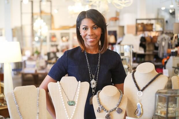Jewelry designer, Keisha Noel, with some of her KZ Noel collection at Huff Harrington Home.