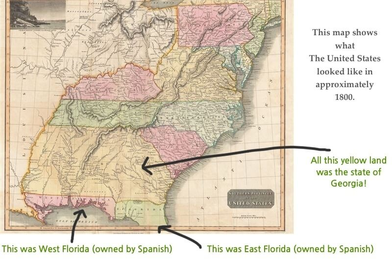 This map shows you how big Georgia once was before they lost their western lands in a political mess known as the Yazoo Land Fruad. As you can see in the map above, there is no coastal property on these maps for what would become Alabama and Mississippi. But, we all know this is not the modern day boundary for either state, both of which enjoy a sliver of coastal land.