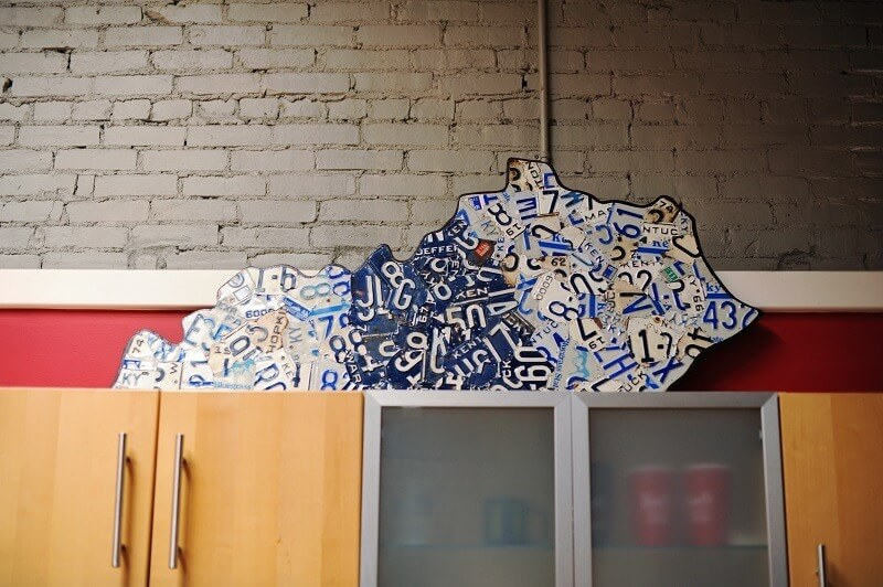 Not Your Typical Bachelor Pad: The state of Kentucky made with Kentucky license plates by local artist Dave Nichols.