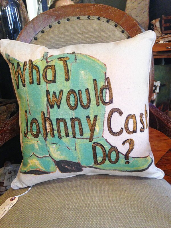 Johnny Cash Pillow, $52 at D. Luxe Home