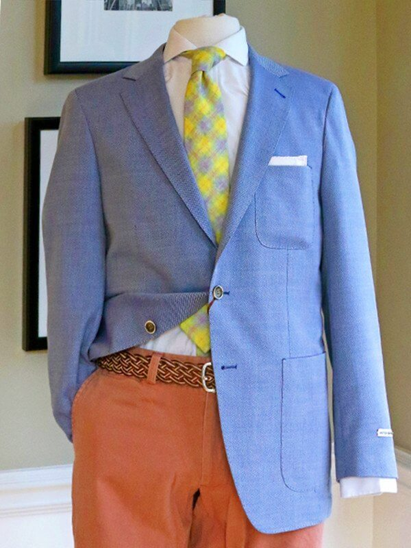 Pairing a soft blue jacket with coral pants is a great way to wear color without appearing too preppy.