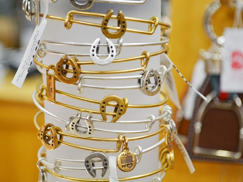 Kentucky Derby Museum Gift Shop for Derby Shopping:Alex and Ani horseshoe bracelets.