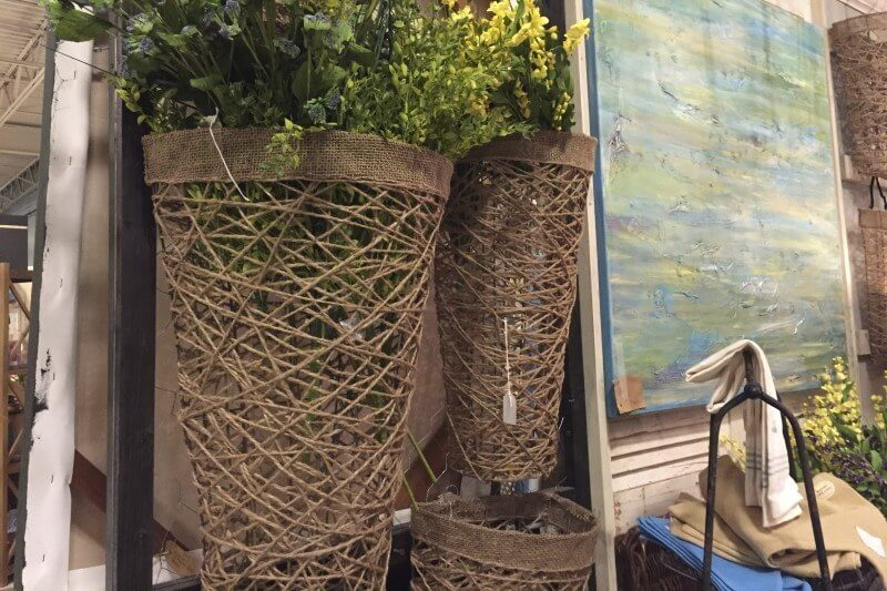 Jute wall baskets from Sheffield's Antiques.