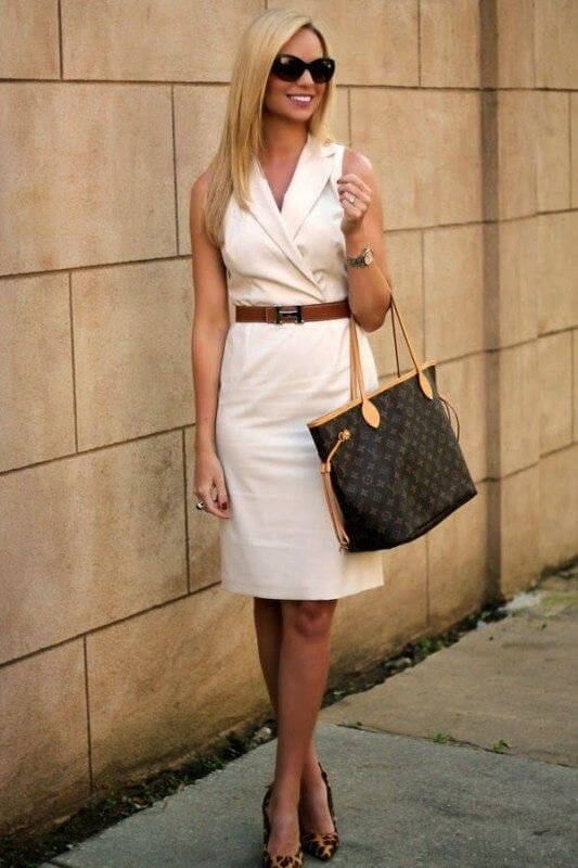 5 Summer 2015 Trends That You Will Still Be Wearing This Fall: white dress with a brown belt. Image source: corporatefashionista.com