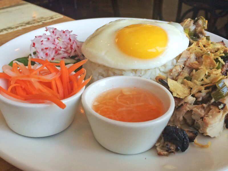 When ordering the com with rice and pork, splurge, and add the fried egg. It makes an already delish dish perfection.