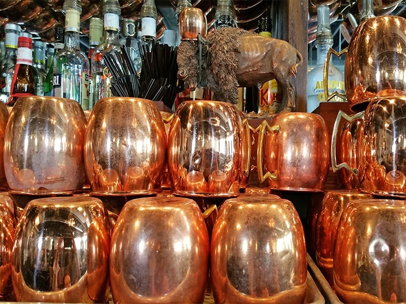 Copper Moscow Mule mugs at 41st Street Pub & Aircraft Sales in Avondale, AL