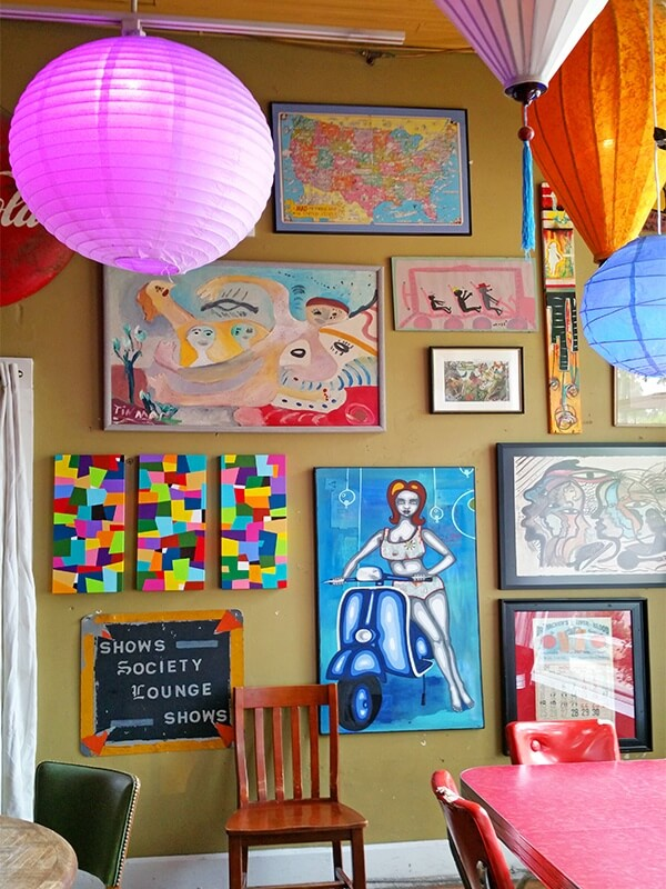 The funky decor at Parkside Cafe in Avondale, AL