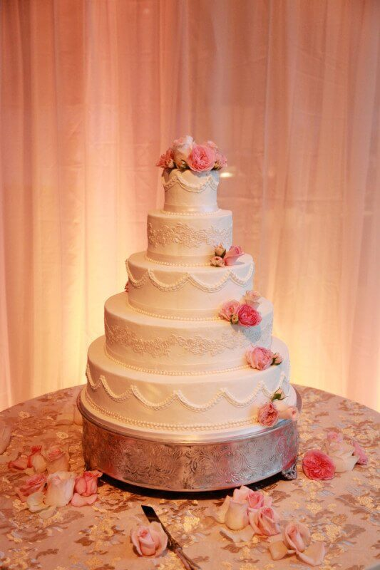 Stunning almond wedding cake at the Smith wedding in Williamson County.