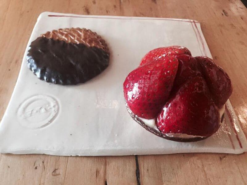 "Save room for a ""cool"" dessert: A chocolate dipped sable and a Tart Fraise 