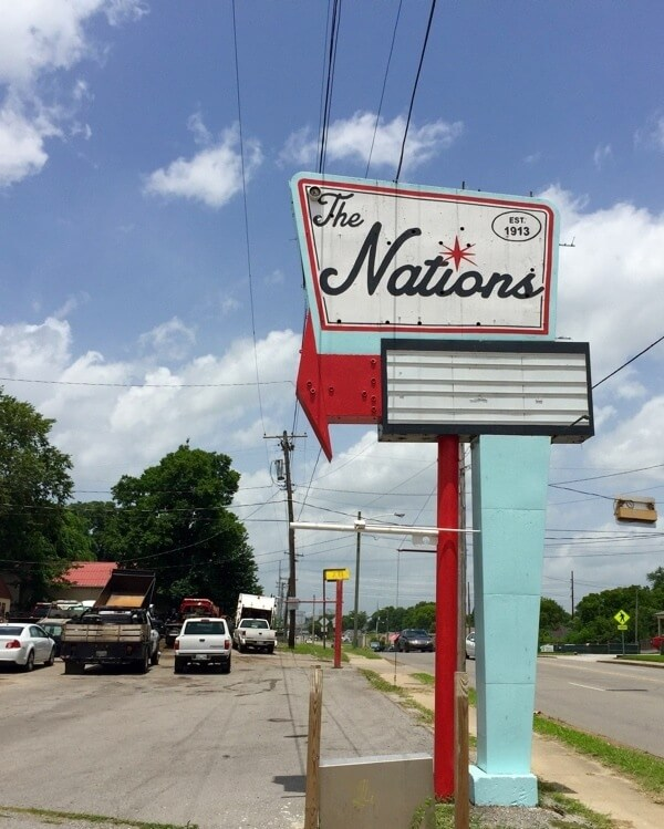 The Nations sign in West Nashville