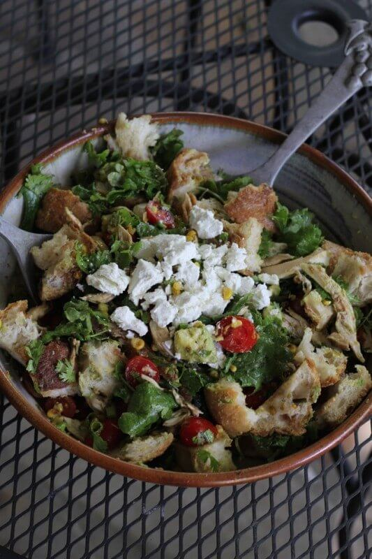 Mexican Panzanella Salad with Goat Cheese
