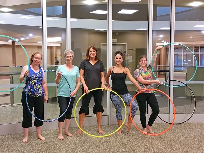Once you are focused on practicing new hooping tricks, time flies by and you're just having fun!