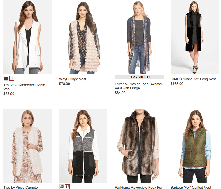 Vests from Nordstrom Oct 2015