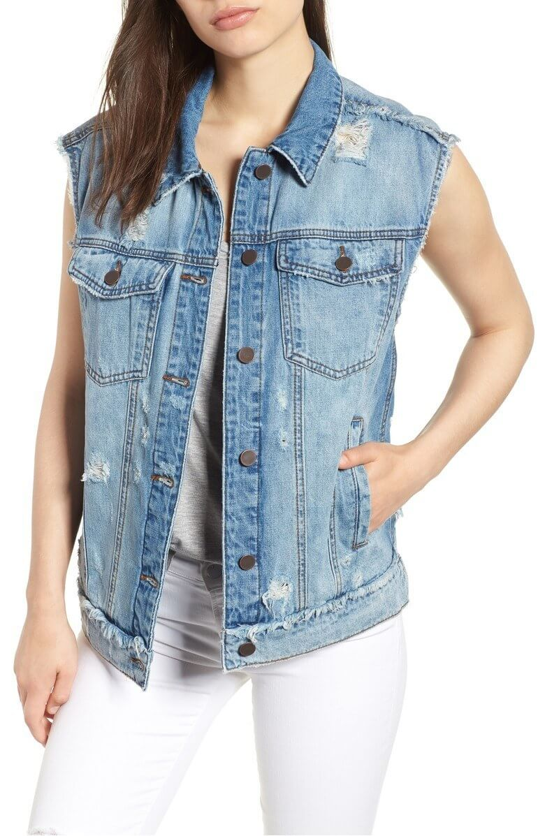 If you're in the market for a denim vest, this is a fantastic option. Its light wash works year round and the slight distressing is on-trend for the season. Pair this with an all-white ensemble for a fun, fashion-forward look. This denim vest is $89. Details here. Image: Nordstrom