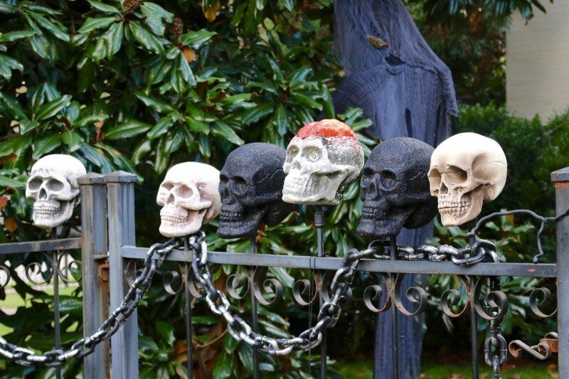A close up of the gate you need to enter through to trick-or-treat at this spooky house on Belmont Blvd!