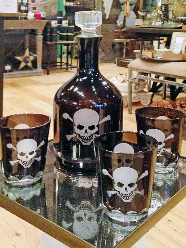 Throw a cocktail party with this spooky decanter set from Absolution.