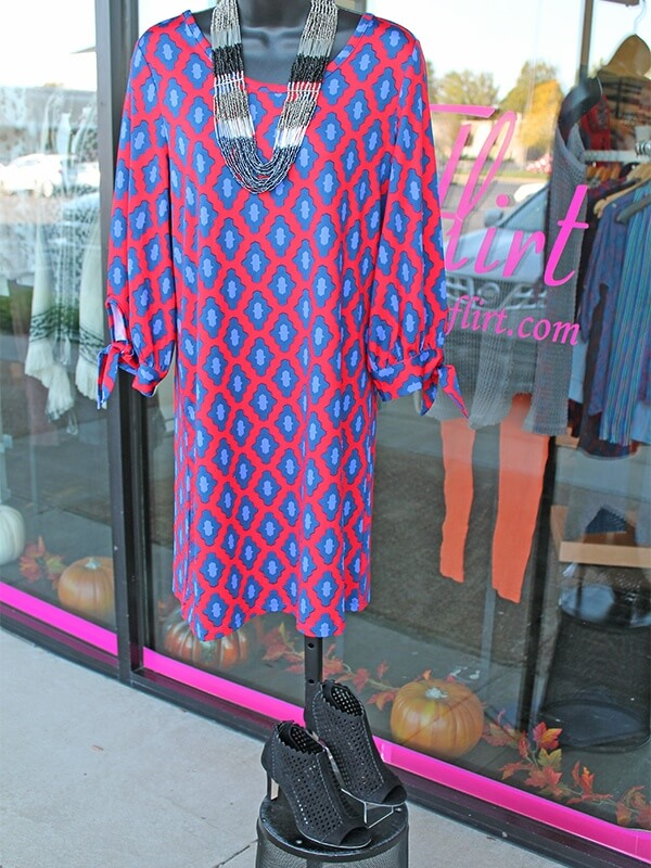 Mud Pie Anderson dress in red/navy $68, Pierre Dumas Lory black bootie $48, Chic bead necklace $28