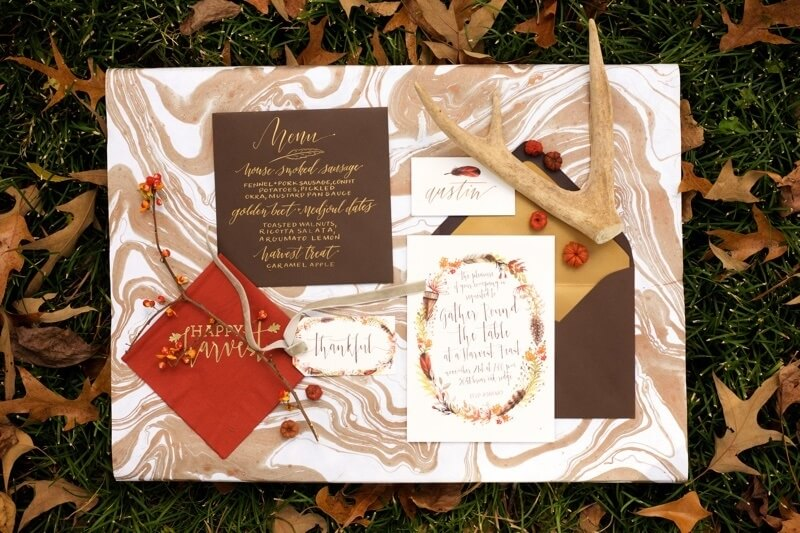 """""""We love the watercolor concept intertwined with the seasonal elements. A lot of our clients want that too,"""" says Mary Baugh of Mariee Ami, as she shares the paper suite for the Harvest Party, which includes a gift tags for your party favor, place cards, invitation, envelope, menu and drink cards for the bar."""