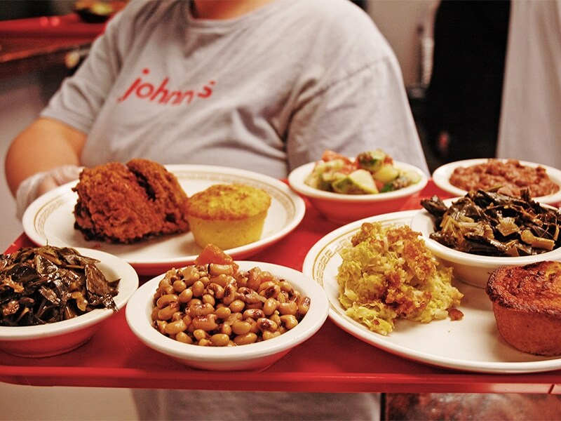 A tray of home-cooked goodness from Johnny's Restaurant in downtown Homewood