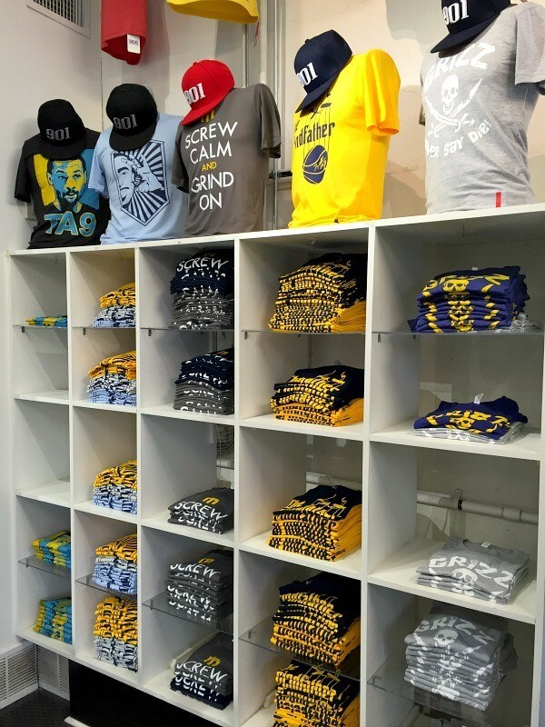 Sache's shelves of Grizz merchandise are ever-changing, with new designs added frequently.