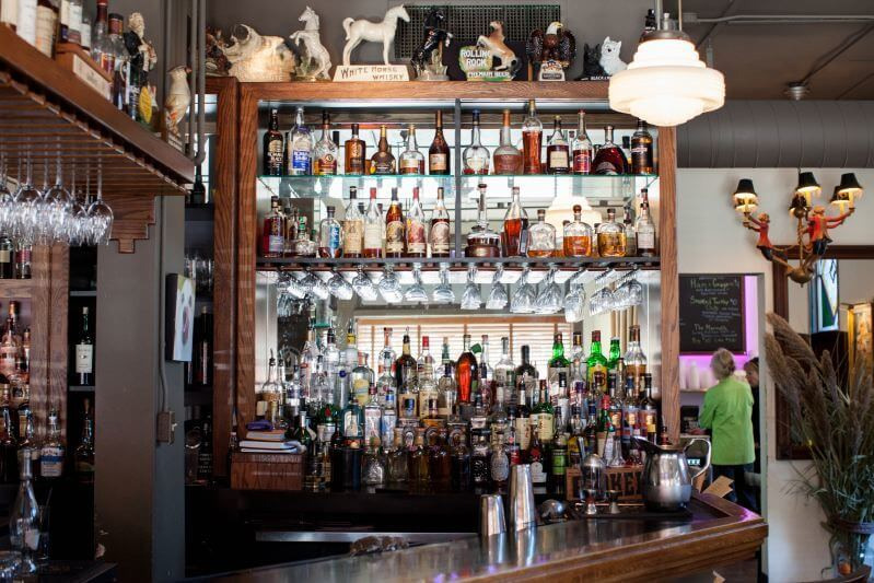 The well-stocked, cozy bar at Lilly's Bistro