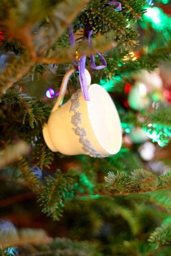 Tea Cup DIY Ornament: I have several of these old tea cups, each different from the next. Making them into ornaments allows our family to talk about my grandparents and great-grandparents, which I love!