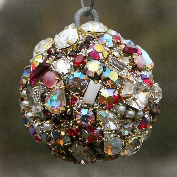 Vintage Jewelry DIY Christmas Ornament found on etsy